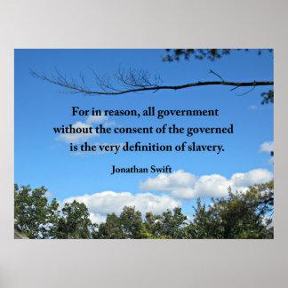 Cita sobre el gobierno, por Jonathan Swift Póster