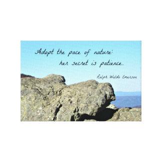 Cita sobre la naturaleza y la paciencia, por R.W. Impresión En Lienzo