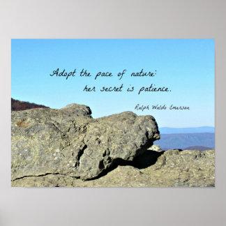 Cita sobre la naturaleza y la paciencia, por R.W. Póster