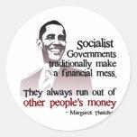 Cita socialista de Thatcher Pegatina Redonda