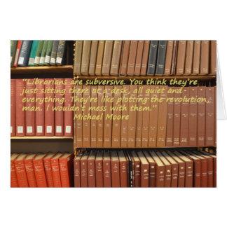 Cita subversiva del bibliotecario tarjeta de felicitación