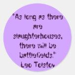 Cita vegetariana de Tolstoy Pegatina Redonda