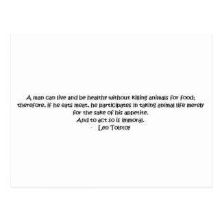 Cita vegetariana de Tolstoy Postal