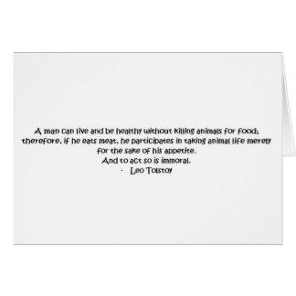 Cita vegetariana de Tolstoy Tarjeta De Felicitación