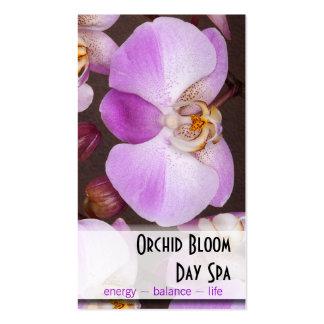 Cita violeta y blanca de la foto de la orquídea tarjeta de visita