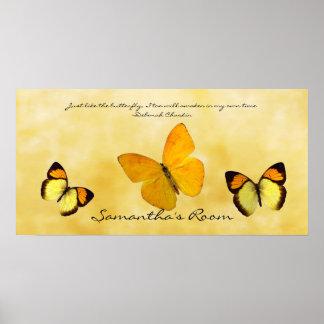 Cita y nombre personalizados mariposas amarillas póster