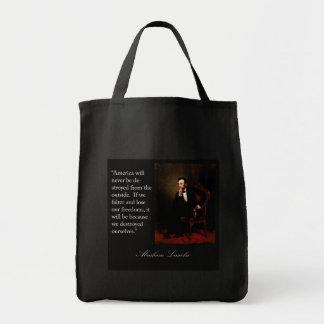 Cita y retrato de Abraham Lincoln Bolsa Lienzo