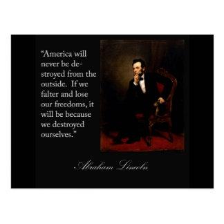 Cita y retrato de Abraham Lincoln Tarjetas Postales