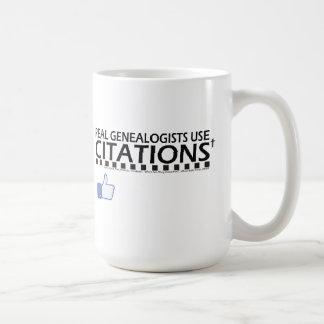 Citaciones reales del uso de los Genealogists Taza Básica Blanca
