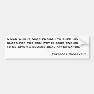 Citas 2 de Theodore Roosevelt Pegatina De Parachoque