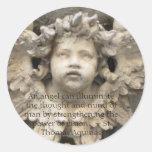 Citas angelicales del ángel - cita del ángel pegatinas redondas