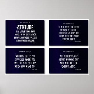 ¡Citas blancas y azules de la aptitud con actitud! Póster