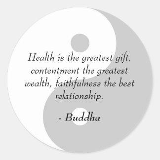 Citas de Buda - salud, alegría, fidelidad Etiqueta Redonda