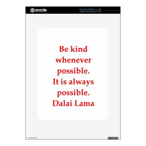 citas de Dalai Lama Calcomanías Para iPad