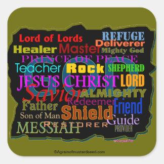 Citas de la biblia pegatina cuadrada