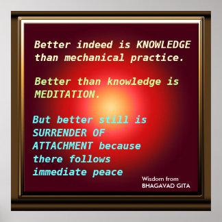 Citas de la SABIDURÍA de Bhagavad Gita Póster