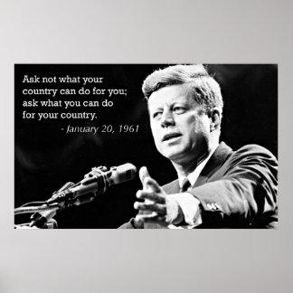 Citas de motivación de John F. Kennedy Póster