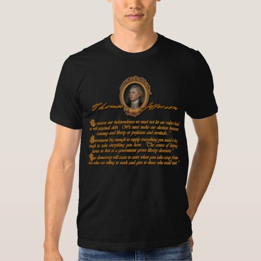 Citas de Thomas Jefferson: Deuda y gobierno grande Playera