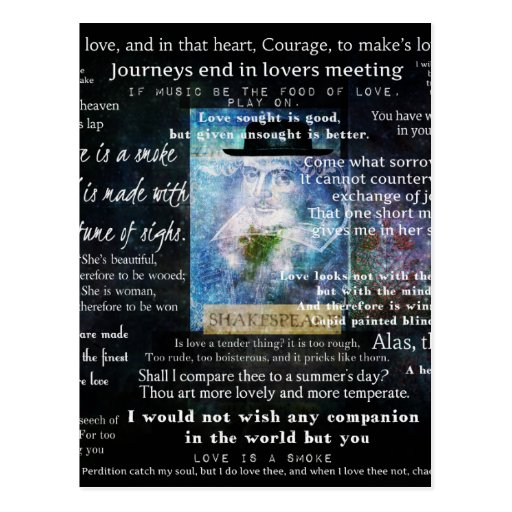 Citas de William Shakespeare sobre amor Tarjeta Postal