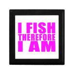 Citas divertidas de la pesca del chica: Me pesco p Cajas De Recuerdo
