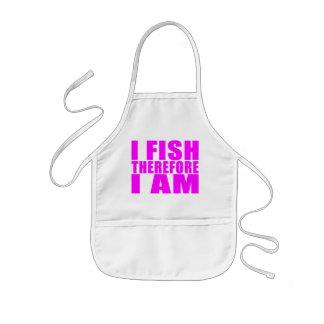 Citas divertidas de la pesca del chica: Me pesco p Delantal Infantil