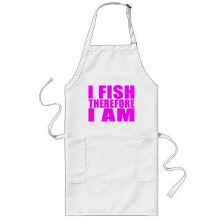 Citas divertidas de la pesca del chica: Me pesco p Delantal Largo