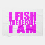 Citas divertidas de la pesca del chica: Me pesco p Toallas De Mano