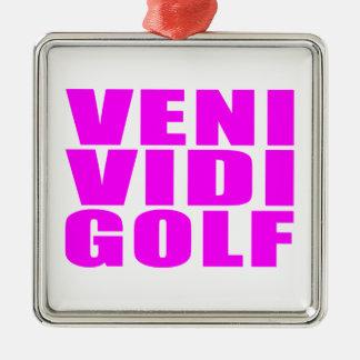Citas divertidas de los golfistas del chica: Golf Adorno Cuadrado Plateado
