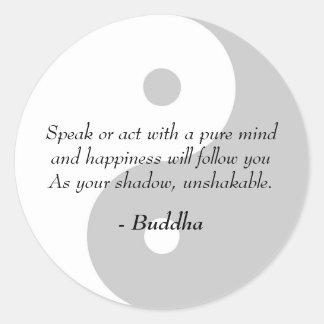 Citas famosas de Buda - mente y felicidad puras Pegatina Redonda