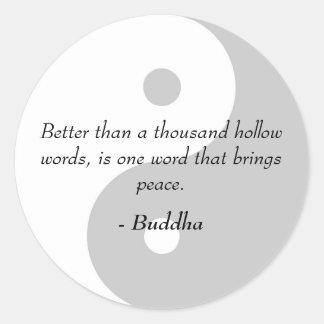 Citas famosas de Buda - palabras y paz huecos Pegatina Redonda