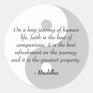 Citas famosas de Buda - poder de la fe Pegatina Redonda
