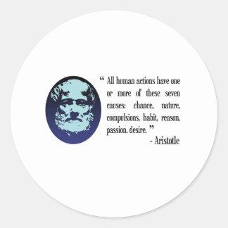 Citas filosóficas de Aristóteles. Pegatinas Pegatinas Redondas