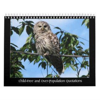 Citas Niño-Libres y de la superpoblación Calendarios De Pared