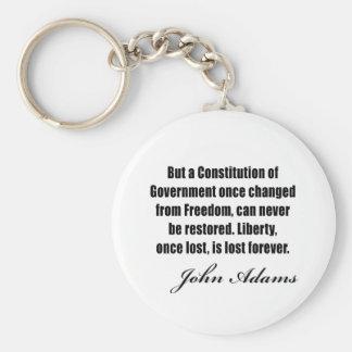 Citas políticas de John Adams Llavero Redondo Tipo Pin