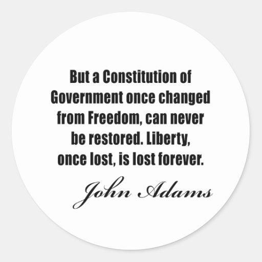 Citas políticas de John Adams Pegatina Redonda