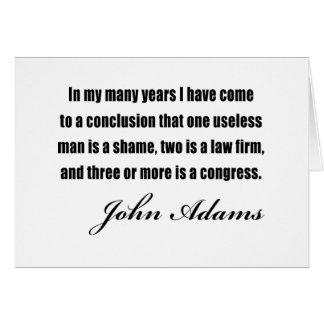 Citas políticas de John Adams Tarjeta De Felicitación