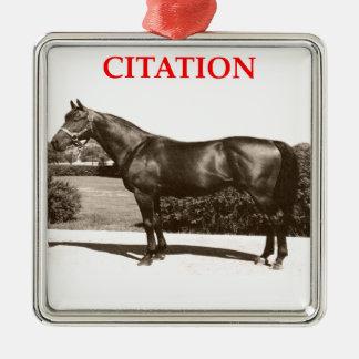 citation square metal christmas ornament