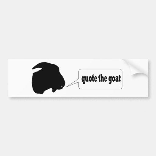 Cite la cabra etiqueta de parachoque