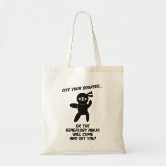 Cite Your Sources Ninja Canvas Bag