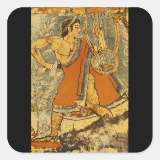 Cithera Player', Etruscan_Art de la antigüedad Pegatina Cuadrada