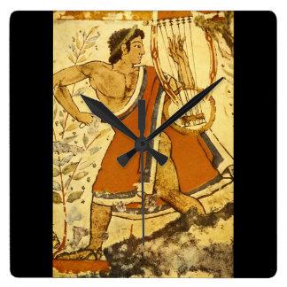 Cithera Player', Etruscan_Art de la antigüedad Reloj Cuadrado