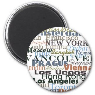 Cities Around the World 2 Inch Round Magnet