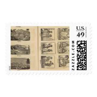 Cities, costumes stamp