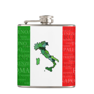 Cities, Map, and Flag of Italy Flasks