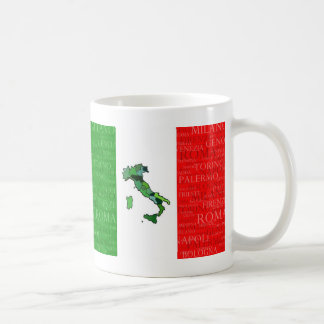 Cities, Map, and Flag of Italy Classic White Coffee Mug