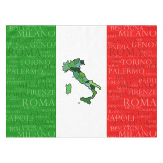 Cities, Map, and Flag of Italy Tablecloth