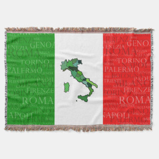 Cities, Map, and Flag of Italy Throw