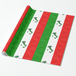 Cities, Map, and Flag of Italy Wrapping Paper