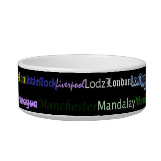 Cities Of The World Text Design I Pet Bowl I