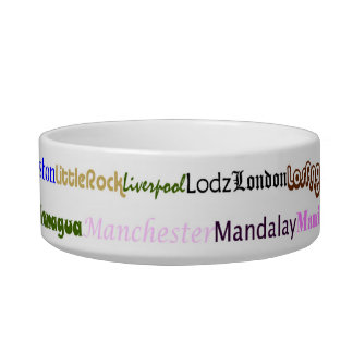 Cities Of The World Text Design II Pet Bowl I